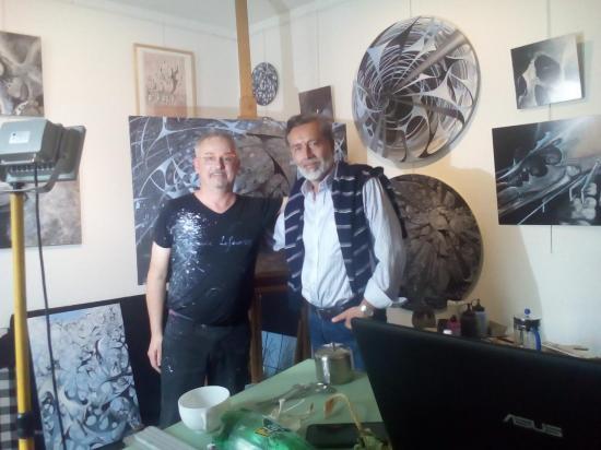 A l'atelier avec mon confrère chilien Claudio Mella