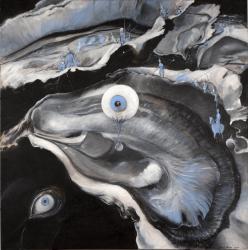 La grande huitre cosmique/ Acrylique sur lin de Madrid/ Format 140 x140/photo Alain Dussarat