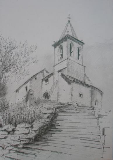Almazore;l'église/ Aragon/dessin crayon 2B/ 2007 format A3