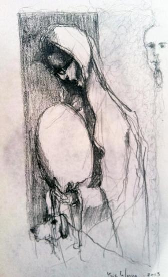 Après l'ange/esquisse 3/ crayon 2B/février 2013