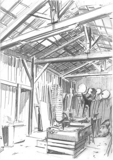 le Hangar en bois/Atelier de Francis viguera/Crayon 2B/ Format A3/ 2011