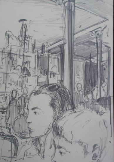 Dans un bar/Paris 14/Crayon 2B/format 12x21/2012.