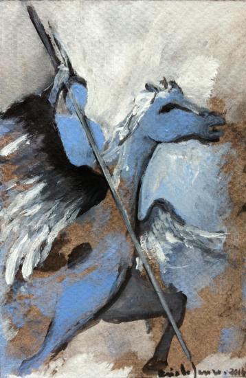 Bellepherique 3/ gouache et fusain vernis sur contrecollé teinté/ Format 10 x 15 /février 2014