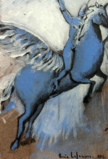 Bellepherique 5/ gouache et fusain vernis sur contrecollé teinté/ Format 10 x 15 /février 2014