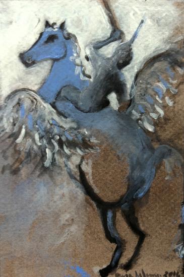 Bellepherique 7/ gouache et fusain vernis sur contrecollé teinté/ Format 10 x 15 /février 2014