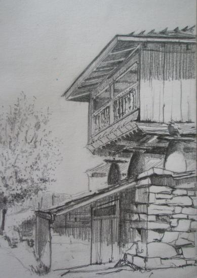 Berducedo/ Horreo/Crayon 2B/Format 13,5 x 21,5/ Août 2012.