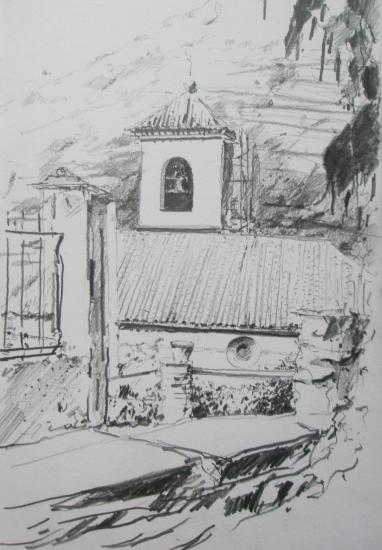 Capileira/Las Alpujarras/église/crayon 2B/ Format 18x 26/ 2006.jpg