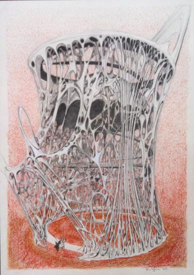 La cathedrale/ 33x45/ crayon et sanguine sur vélin d'Arches 240g/
