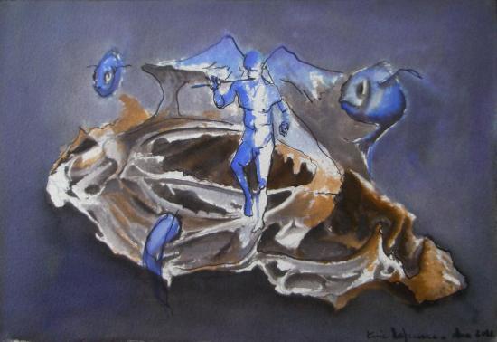 Blue rondo  au poulet / Encre sur papier 300g / Format 18 x 26 / décembre 2012.