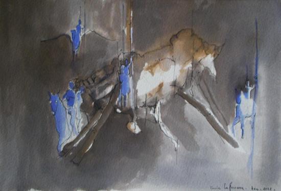 Les magdaléniens/ Encre sur papier300g / Format 18 x26 / Décembre 2012.