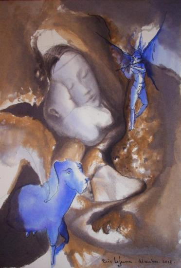 Maternité en ventre de poulet/ Encre sur papier 300g / Format 18 x 26 / Décembre 2012.