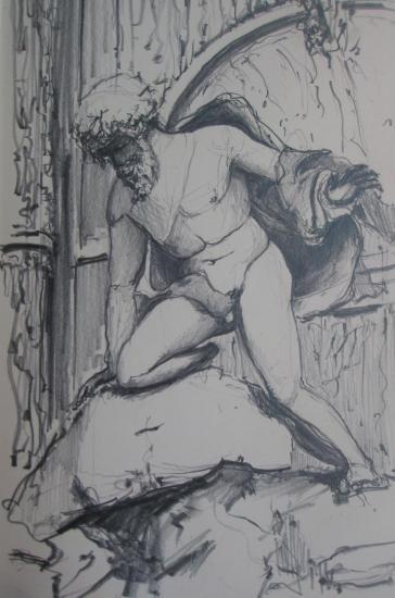 Fontaine Médicis/Jardin du Luxembourg/ Paris/ crayon 2B/ format 12 x 20
