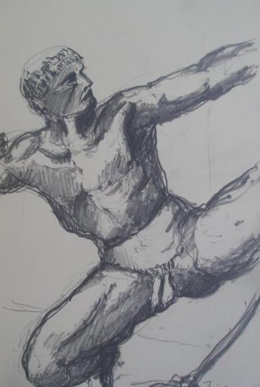 Héraklès/Musée Bourdelle/Paris14/crayon 2B/Format 12x21/2012.