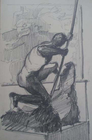 Héraklès/Musée Bourdelle/Paris 14/Crayon 2B/Format 12x21.