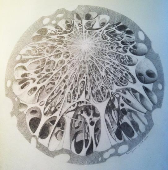 Cathédrale intérieure sur plan circulaire/ crayon/33 x 33/2014