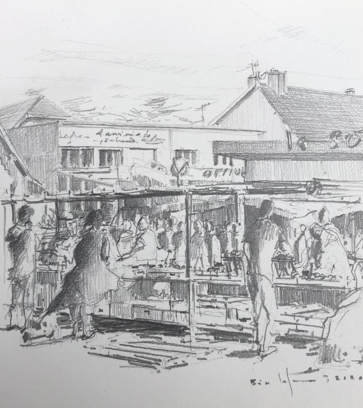 Coutainville_Le  marché au Passous_2020_crayon2B