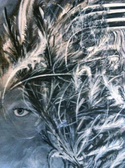 Isis/détail/Sur la route, l'oeil en flaque/Acrylique sur lin de Madrid/Format 60x75/oct 2012.jpg