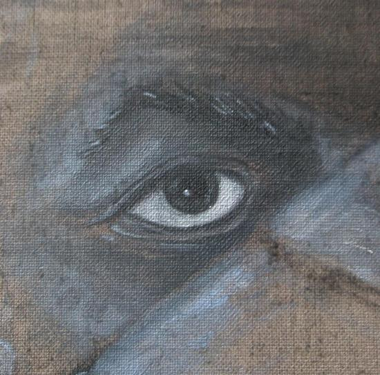 La parole retrouvée/ acrylique sur lin de Madrid/ 140 x140/avril 2012/détail:l'oeil