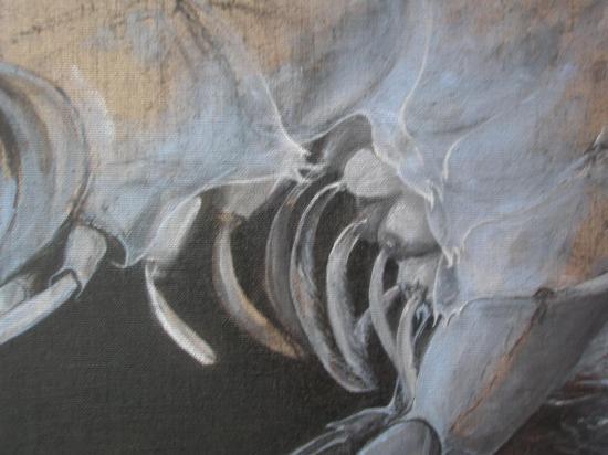 La parole retrouvée/ acrylique sur lin de Madrid/ 140 x140/avril 2012/ détail les mamelles capilaires