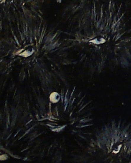 Le regard des oursins/détail: le chien mélancolique/ format 140x140/ acrylique sur lin de Madrid/2011