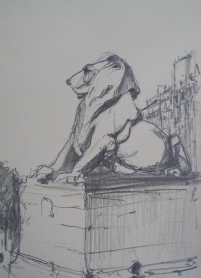 Lion/Place Denfert-Rochereau/Paris14/Crayon 2B/Format 12 x 21/2012.