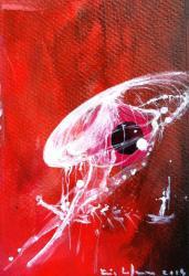 Meduse 3 / Acrylique sur carton/ format 10 x 15/2014