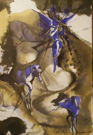 Maternité aux gargouilles / Encre sur papier 300g / Format 18 x 26 / décembre 2012.