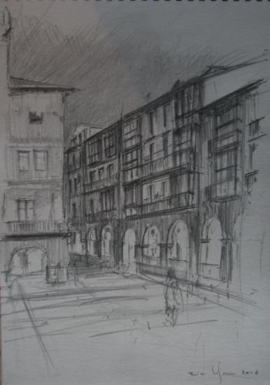 Castro Urdiales / plaza del Ayuntamiento / crayon 2B sur papier 224g /Format A4 /Décembre 2012.