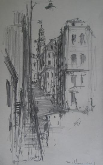 Porto/depuis les quais/2012/Crayon 2B/Format 13x21