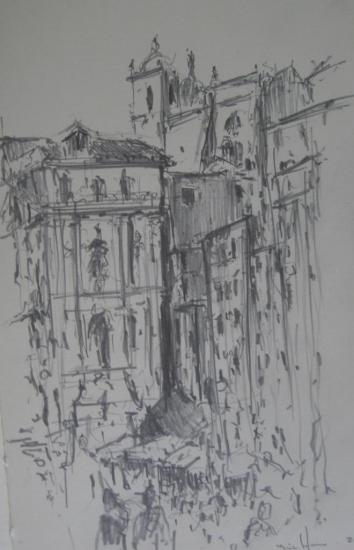 Porto/depuis la bourse/2012/crayon 2B/ Format 13x21