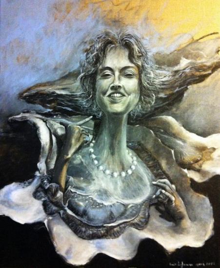Portrait d'une bordelaise en huitre/acrylique sur lin de Madrid/format 60x80/mars 2013