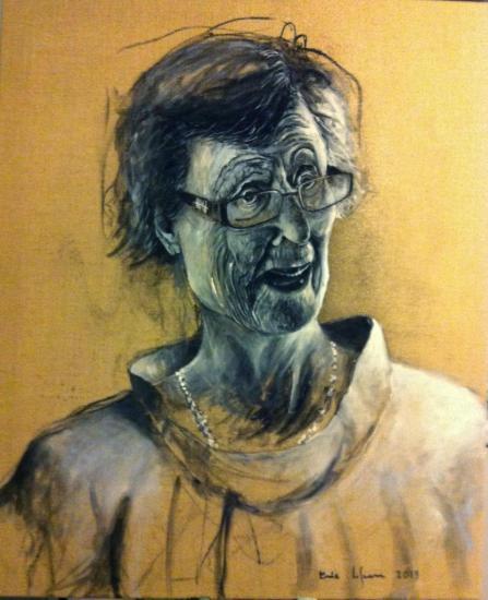 Portrait de Cécilia Gimenez/ acrylique sur lin de Madrid/ format 60 x 80 /2013