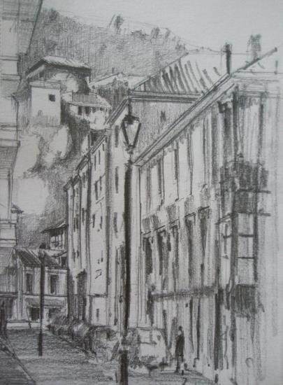 Cornellana/Rue/Crayon 2B/Format 13,5 x 21,5/Août 2012.