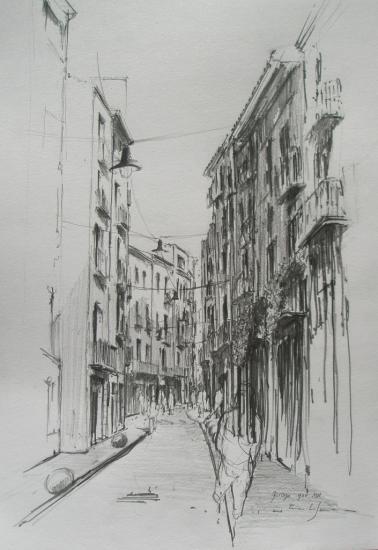 Rue à Gérone/ novembre 2011/Format A3/ crayon B.