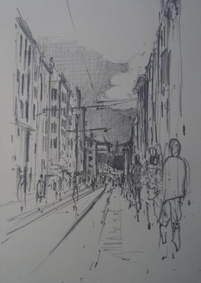 Rue Jean-Jaurès/Brest/crayon2B/format 12x21/ juillet 2012