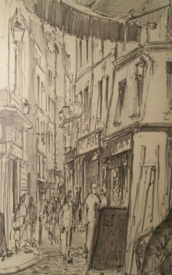 A l'angle des rues Saint-Severin et de la Harpe /Paris/ crayon 2B/13x21/2012