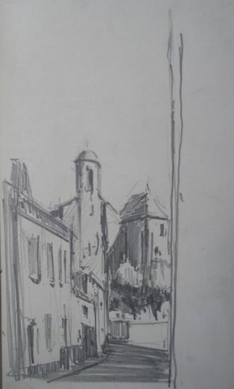 Saint-Ferme vue de l'abbaye depuis la rue  (extrait d'un carnet de pèlerin cheminant de Mussidan à Bazas/2009)