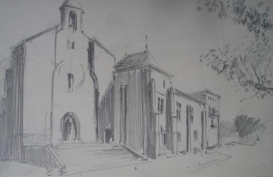 Saint-Ferme vue de l'abbaye depuis la place (extrait d'un carnet de pèlerin cheminant de Mussidan à Bazas/2009)