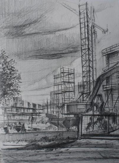 Station Louis Fargues en chantier/ Bordeaux/2011/crayon 2B/ format A4