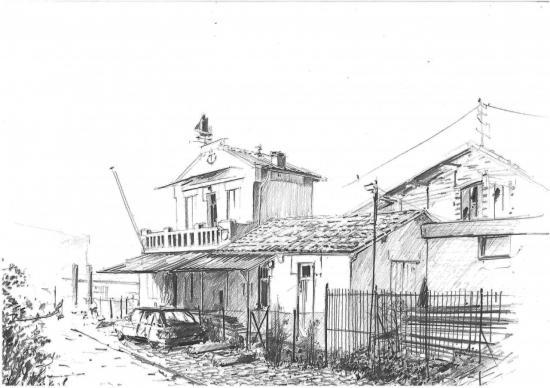 Le terre-plein des écluses/Atelier d'Hector Narphivès/ crayon 2B/Format A3/ 2010