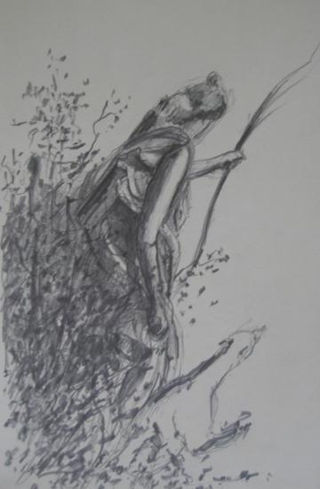 Diane ou l'heure du soir/Versailles/2012/Crayon 2B/Format 13x21