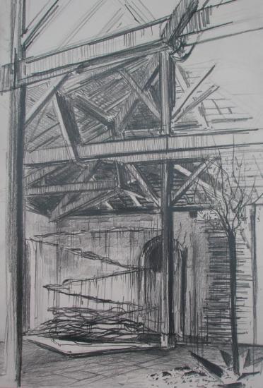 Les Vivres de L'art/Exposition Black cube/Crayon 2B/Format 28x40/ juillet 2012.